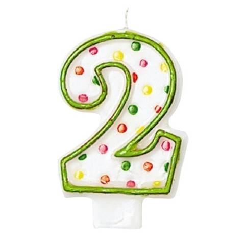 Bilde av Kakelys 2 År Grønn Polka Dot 7.6cm