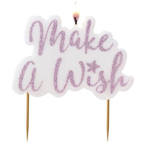 Bilde av Unicorn Wishes 'Make A Wish' Rosa Glitter Kakelys 11.5cm