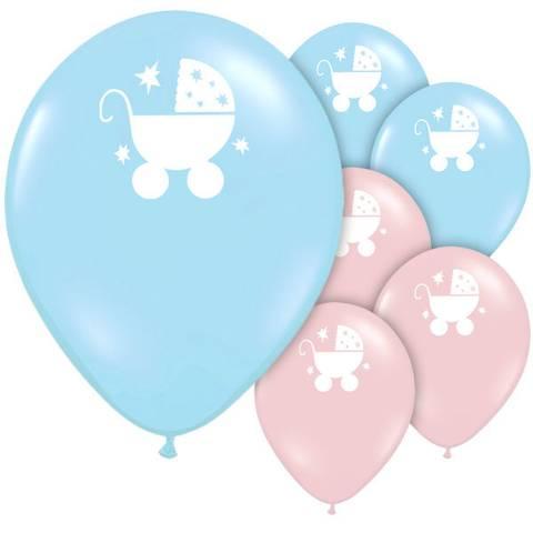 Bilde av Tiny Feet Baby Shower Ballonger Rosa og Blå med Barnevogn 23cm,