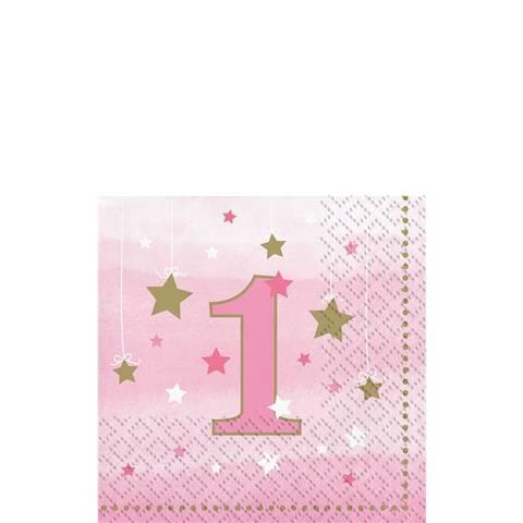 Bilde av Twinkle One Little Star 1 År Rosa Servietter 25cm 16stk