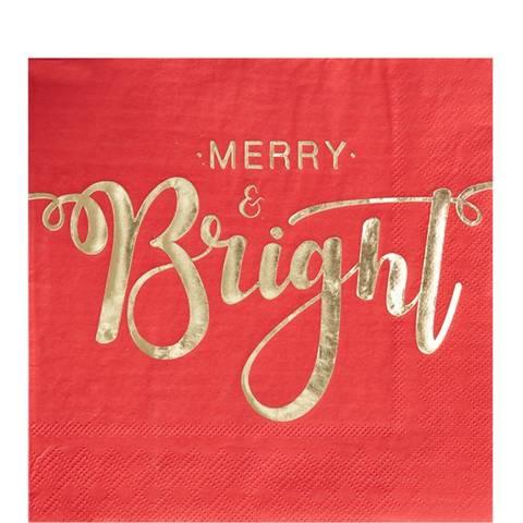 Bilde av Merry & Bright Røde Papirservietter Lunsj 33cm 20stk