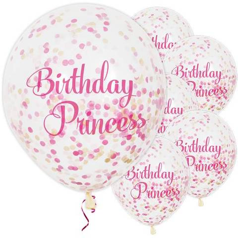 Bilde av Konfetti Ballonger Birthday Princess  30cm 6stk