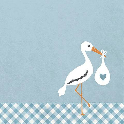 Bilde av Serviettter Baby Love Stork Blå 33cm 20stk